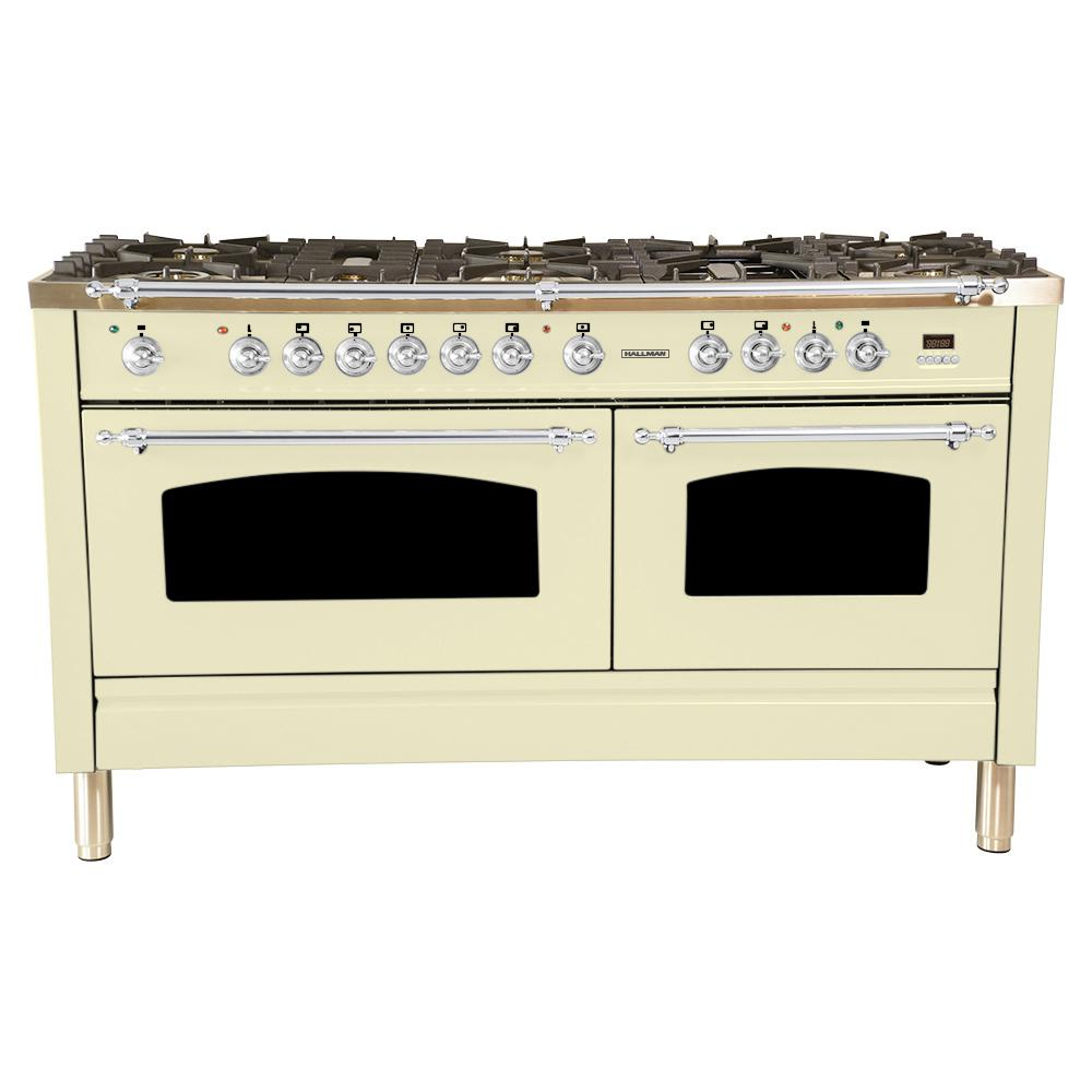 Hallman 60 in. 6 cu. ft. Double Oven Dual Fuel Italian Range True Convection,8 Burners, LP Gas, Chrome Trim/Antique White