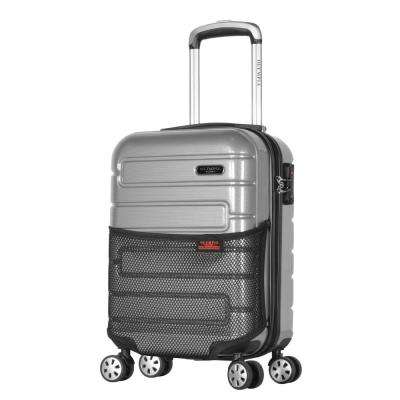 Nema 18 in. Silver Under the Seat Carry-On PC Hardcase Spinner with TSA Lock