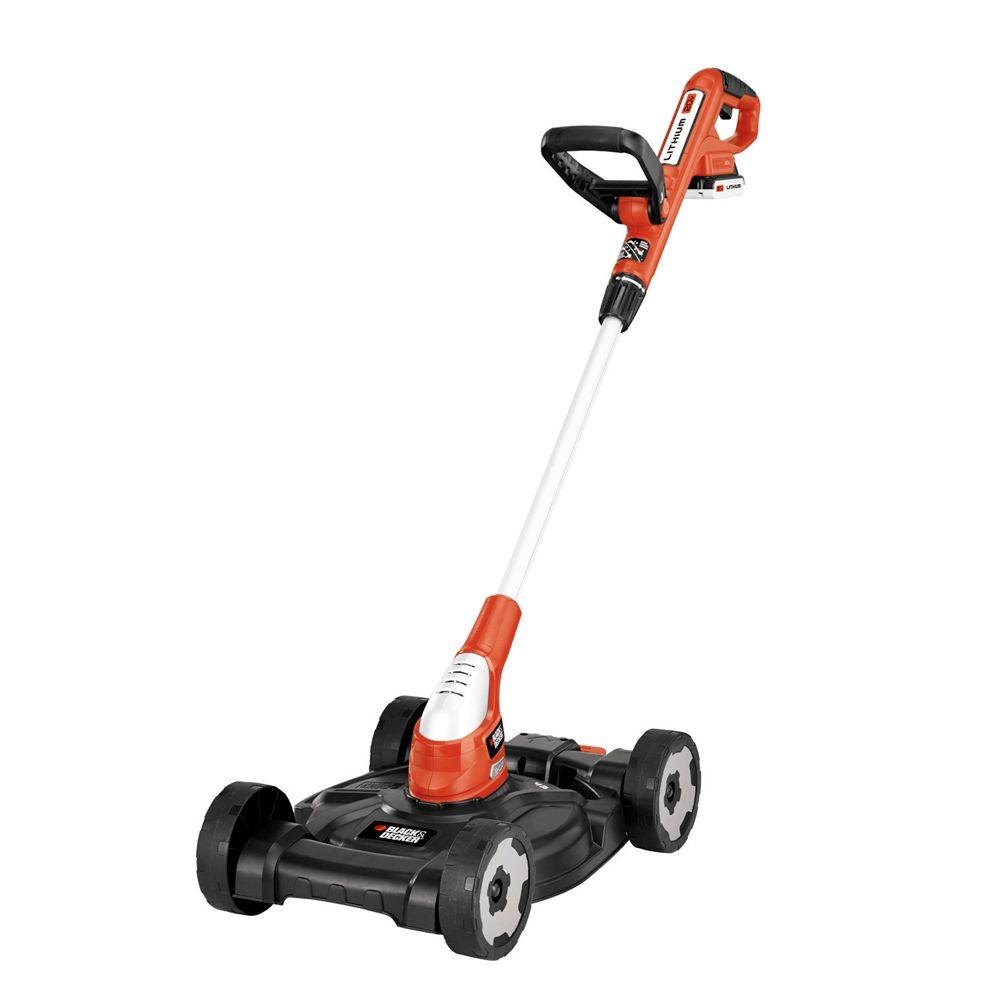 black decker 12 in 20 volt max lithium ion cordless 3 in 1 string trimmer edger mower with 2. Black Bedroom Furniture Sets. Home Design Ideas