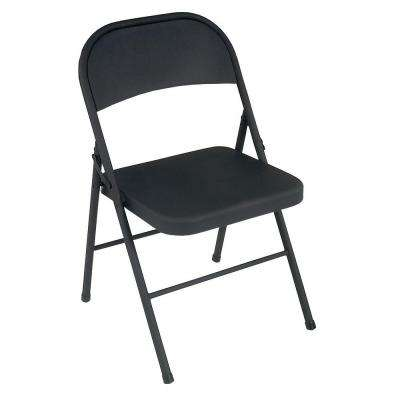 All Steel Folding Chairs in Black (4-Pack)