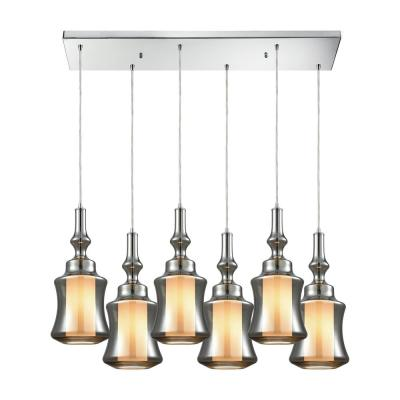 Alora 6-Light Rectangle in Polished Chrome with Opal White Glass Inside Smoke Plated Glass Pendant
