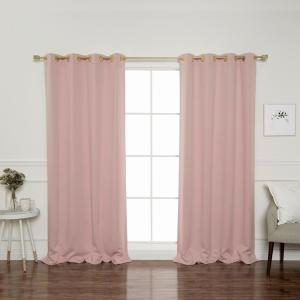 Gold Grommet 84 inch L Triple Weave Blackout Curtain Panel in Dusty Pink (2-Pack) by