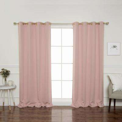 Gold Grommet 84 In L Triple Weave Blackout Curtain Panel Dusty Pink