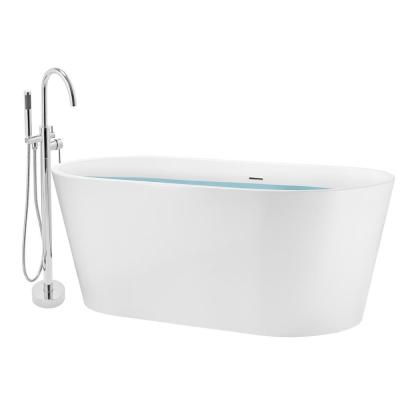 59 in. Glossy White Fiberglass Tub for Bathtub with Tub Filler Combo - Modern Flat Bottom Stand Alone Tub