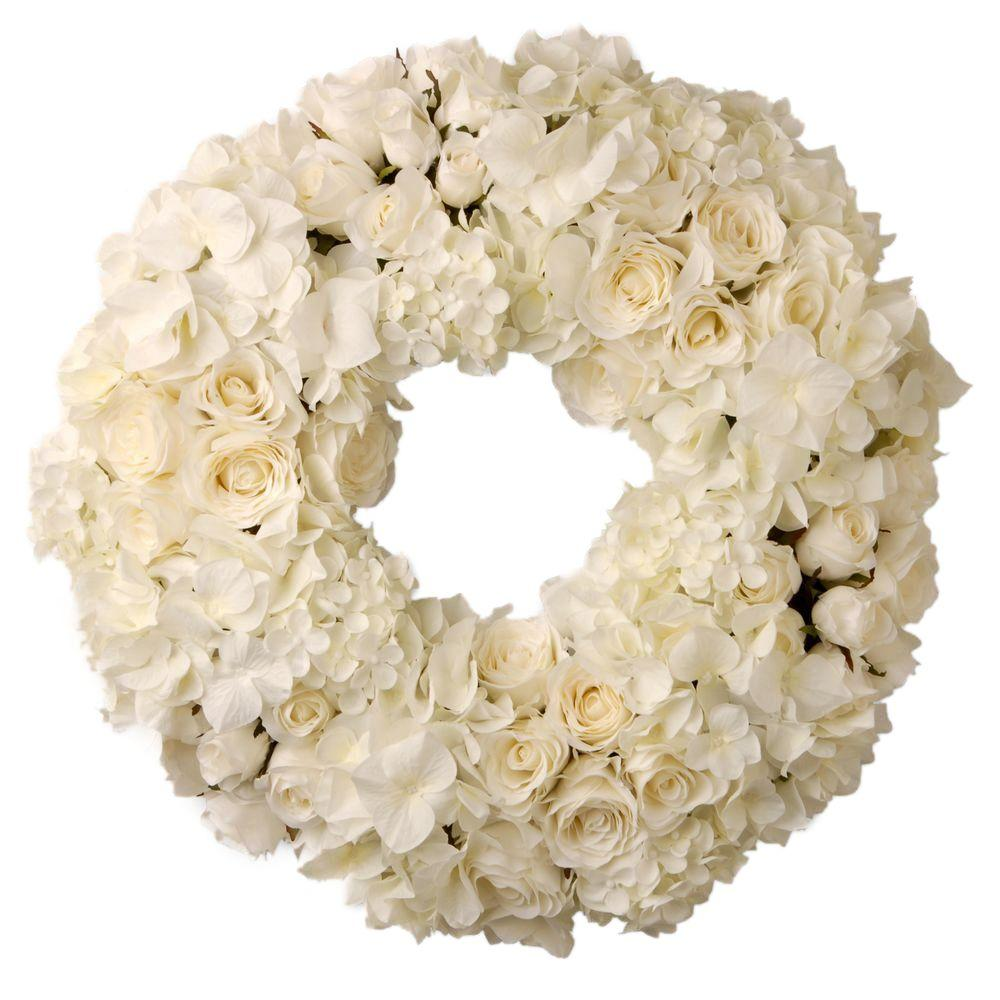 15 in. Decorated Wreath with Mixed Roses and Hydrangea in Foam