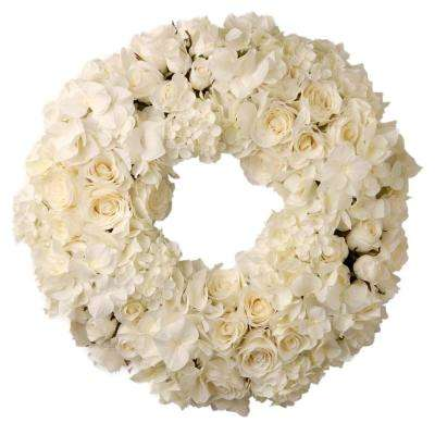 15 in. Decorated Wreath with Mixed Roses and Hydrangea in Foam Base