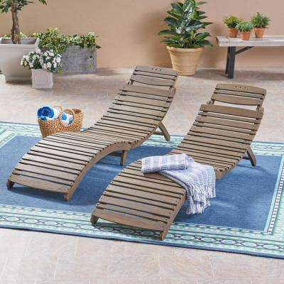 Maeve Gray Foldable 2-Piece Wood Outdoor Chaise Lounge