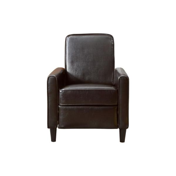 Brown Faux Leather Push Back Recliner 73028-89BR