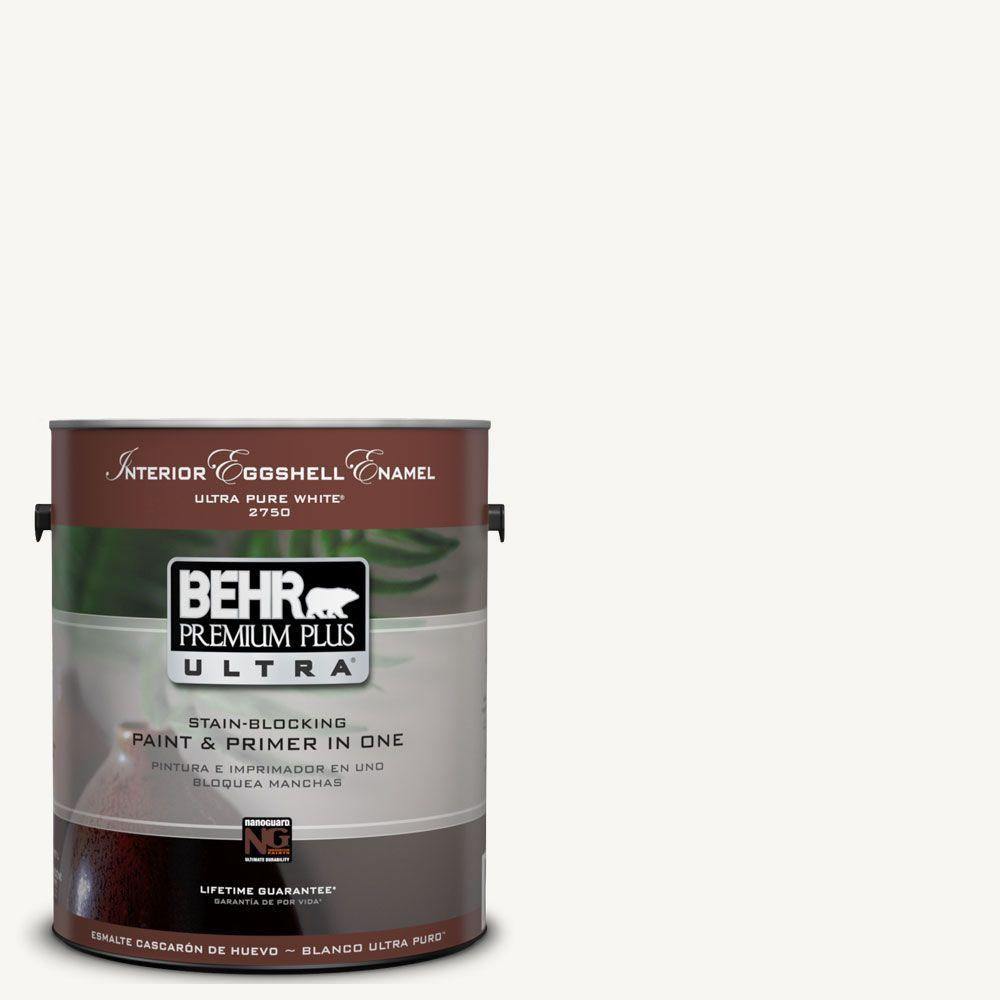 BEHR Premium Plus Ultra 1 gal. #UL260-14 Ultra Pure White Eggshell Enamel Interior Paint and Primer in One