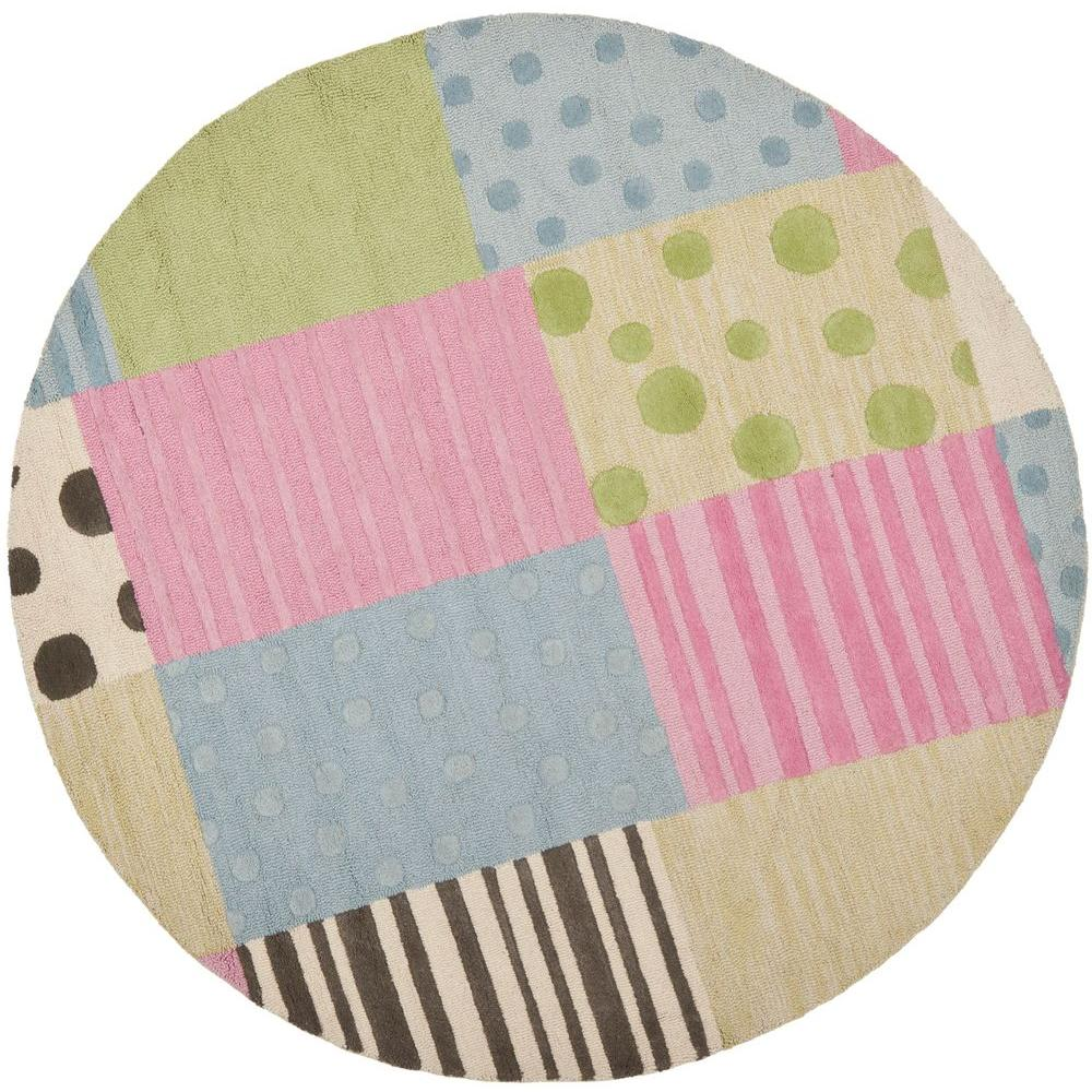 Kids Blue/Pink 4 ft. x 4 ft. Round Area Rug
