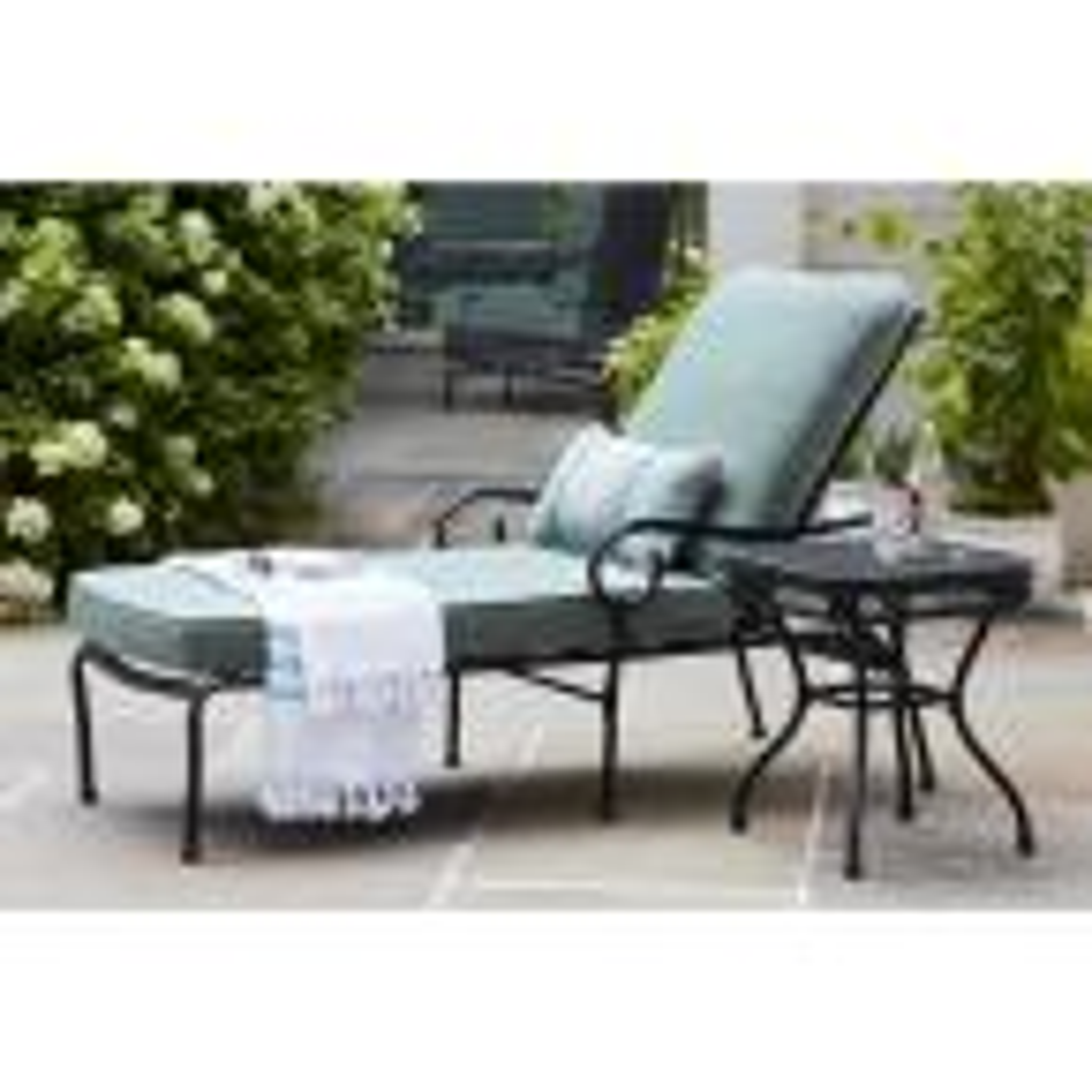 Hampton Bay Posada Patio Chaise Lounge With Gray Cushion