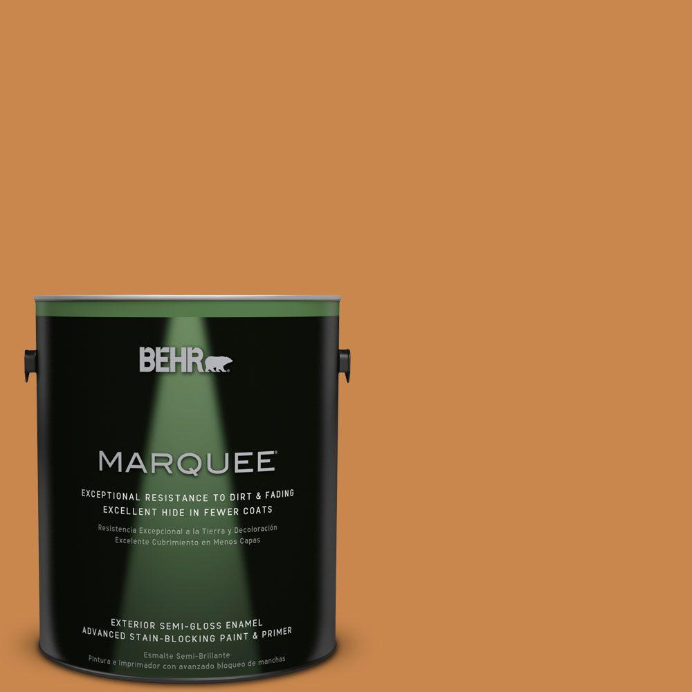 1-gal. #M240-7 Golden Pumpkin Semi-Gloss Enamel Exterior Paint
