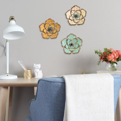 Rustic Metal Flower Wall Decor (Set of 3)