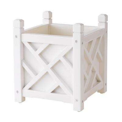 Chippendale 14 in. Square White Wood Planter