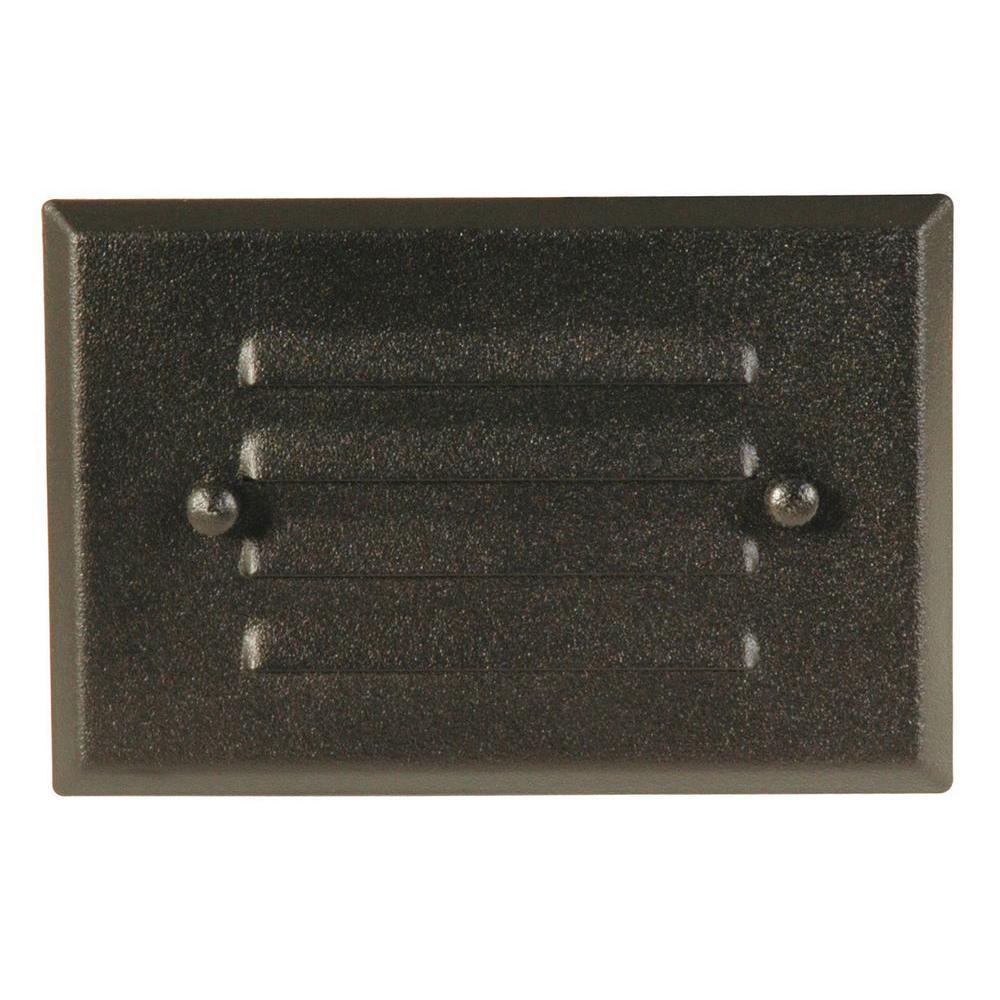 Low-Voltage Black Metal 1-Light Recessed Rectangle Deck Light