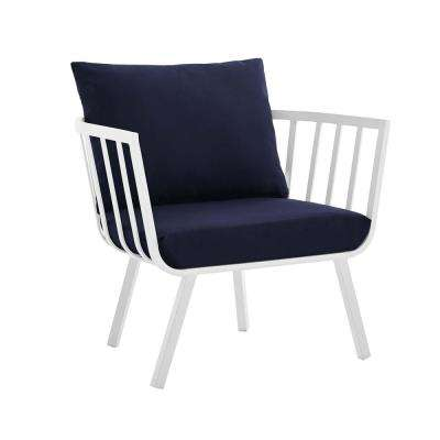 Riverside White Aluminum Outdoor Patio Dining Chair with Navy Cushions