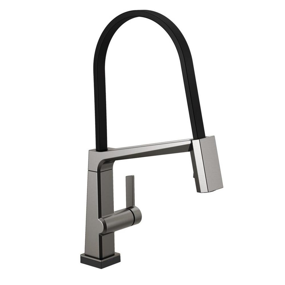 Pivotal Single-Handle Pull-Down Sprayer Kitchen Faucet with Touch2O Technology and MagnaTite Docking in Black Stainless