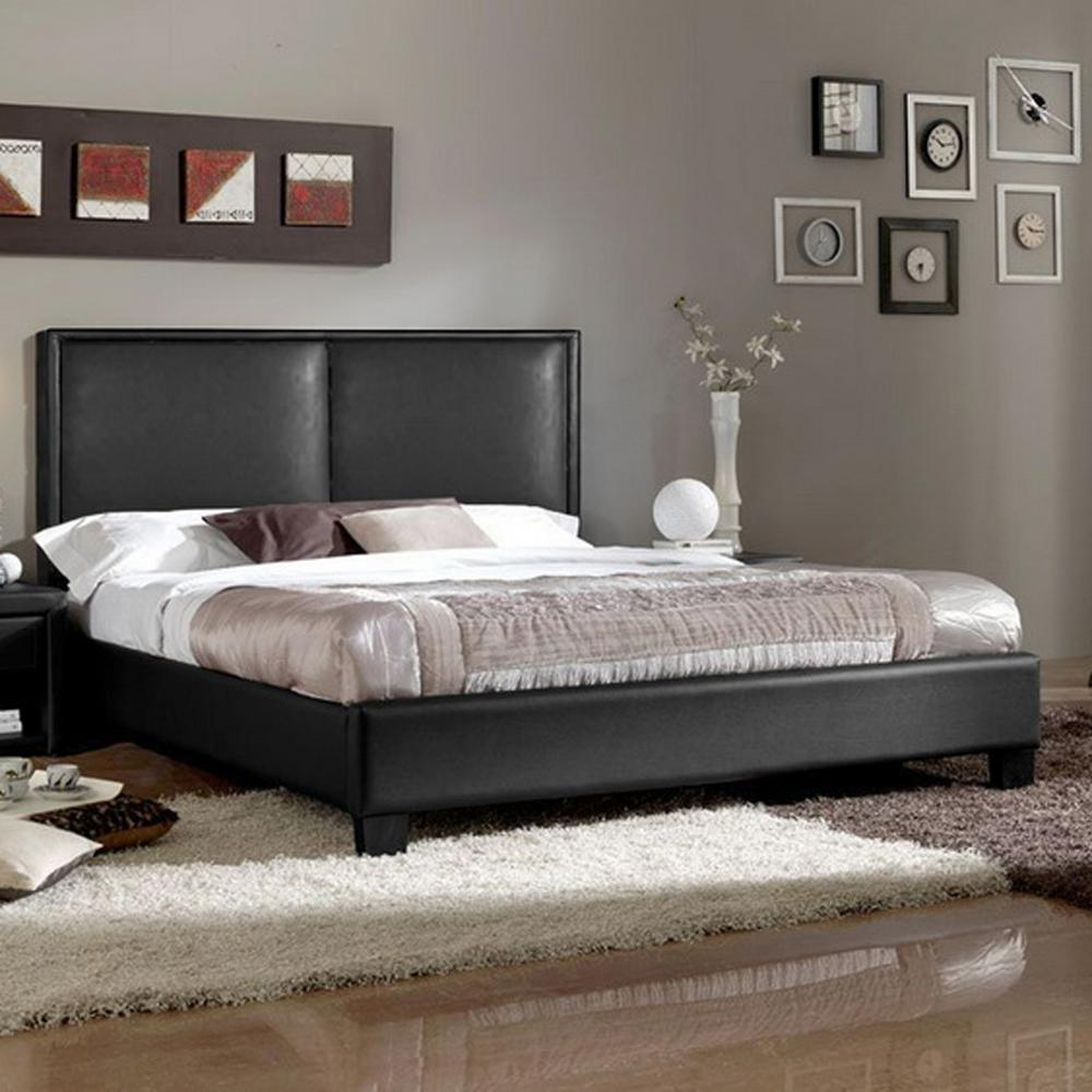 baxton studio moderne contemporary black faux leather upholstered full size bed 28862 5345 hd. Black Bedroom Furniture Sets. Home Design Ideas