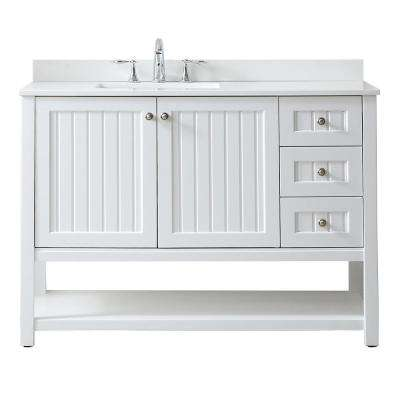 Seal Harbor 48 in. W x 22 in. D Vanity in White with Quartz Vanity Top in Pure White with White Basin