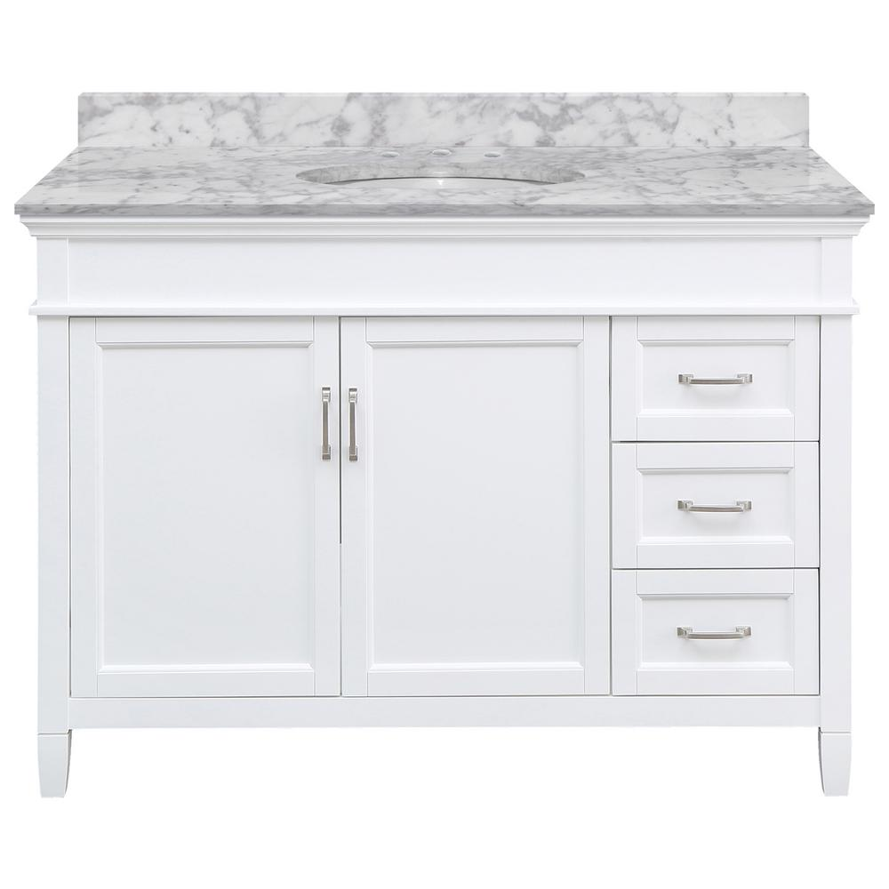 Home Decorators Collection Ashburn 49 in. W x 22 in. D Bath Vanity in White RH Drawers with Marble Vanity Top in Carrara with White Oval Sink was $1319.0 now $791.4 (40.0% off)