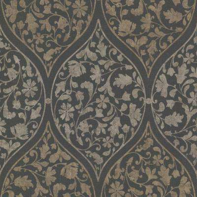 Adelaide Ogee Floral Charcoal Wallpaper