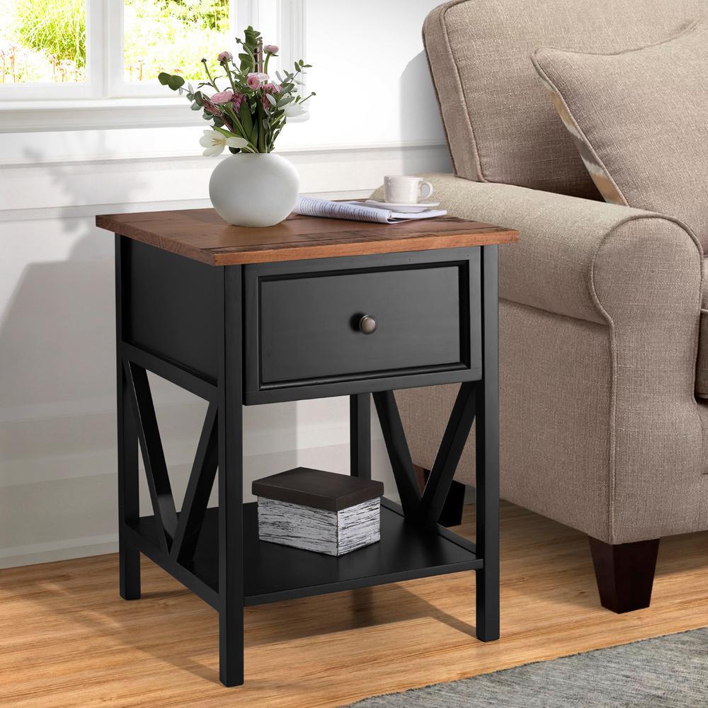 "19"" 1 Drawer Wood Side Table - Reclaimed Barnwood / Black"