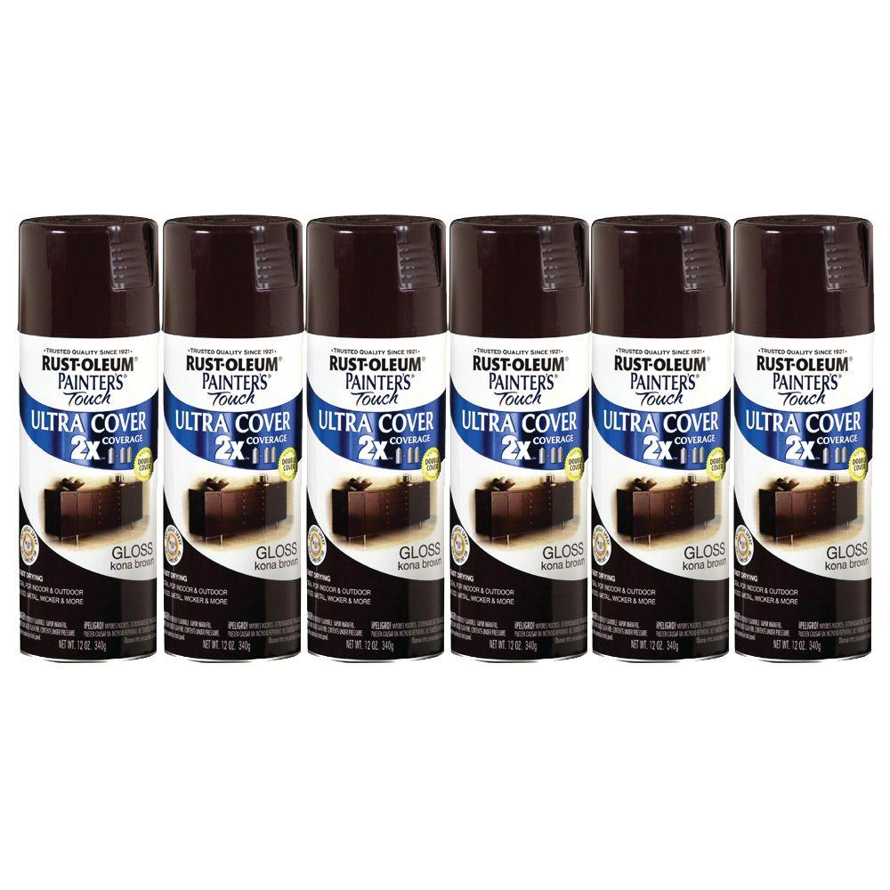Painter's Touch 12 oz. Gloss Kona Brown Spray Paint (6-Pack)-DISCONTINUED