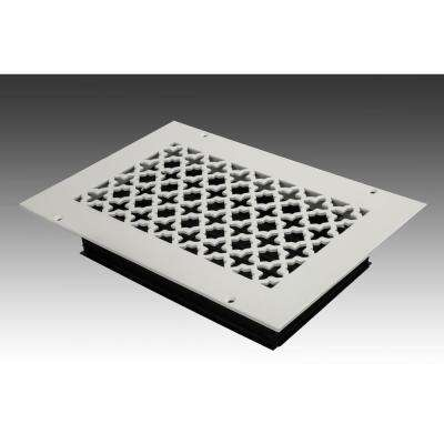 10 in. x 6 in. White Poweder Coat Steel Wall Ceiling Vent with Opposed Blade Damper