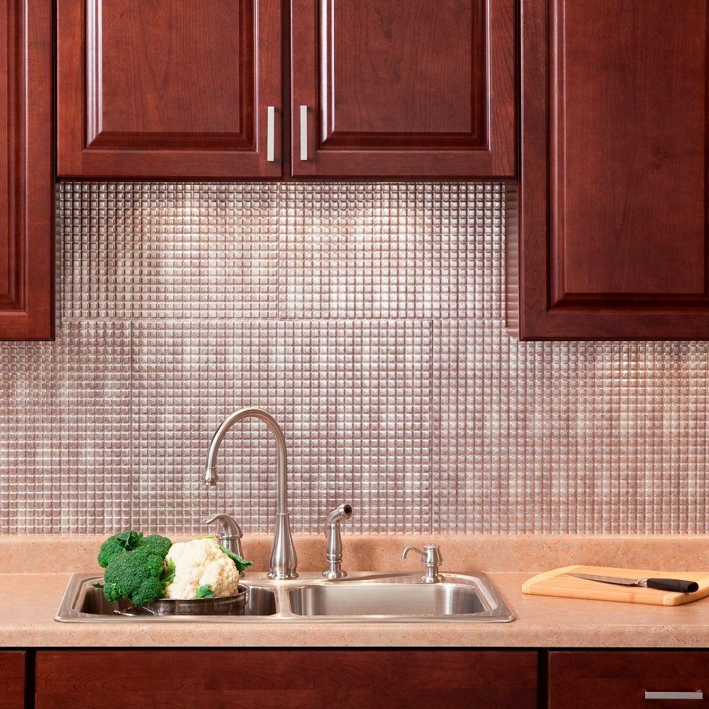 Fasade 24 in. x 18 in. Squares PVC Decorative Backsplash Panel in Crosshatch Silver