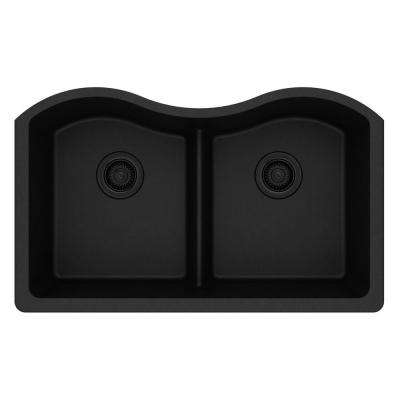 Quartz Clic Undermount Composite 33 In Rounded Offset Double Bowl Kitchen Sink Black