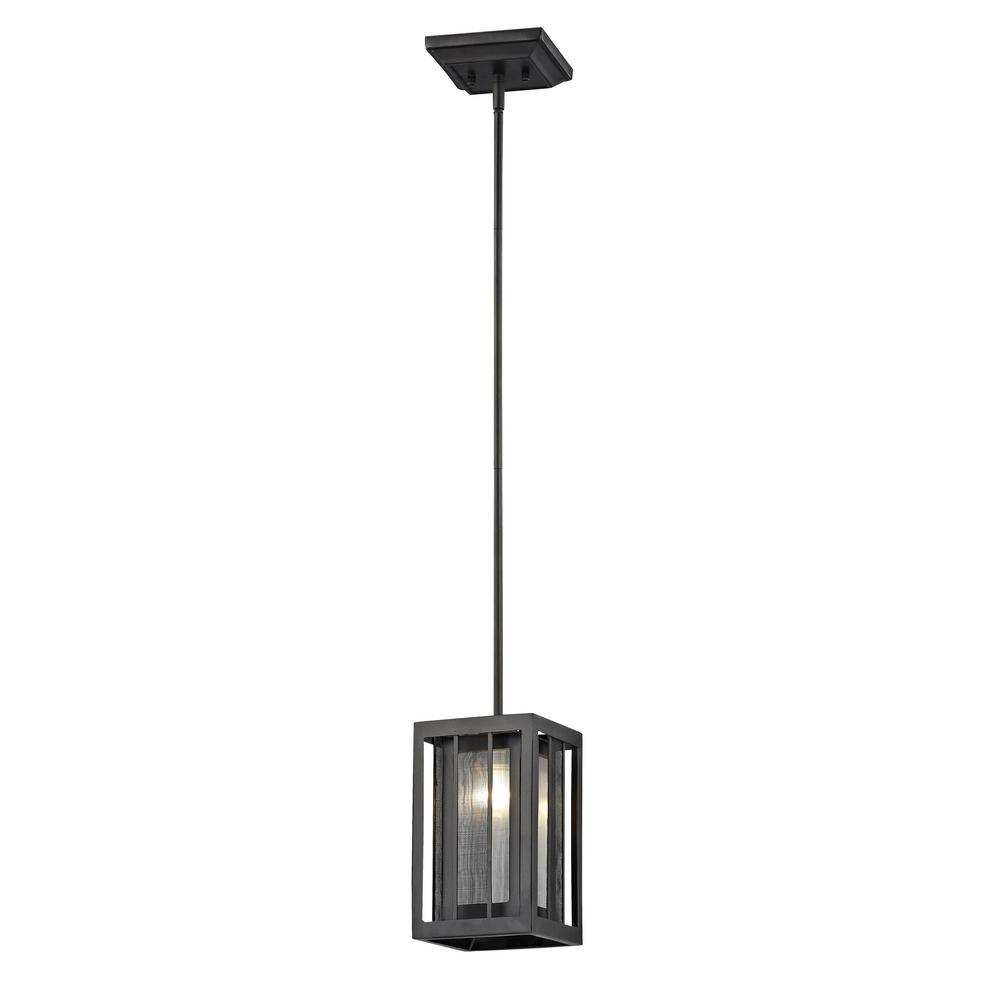 Soraya 1-Light Bronze Pendant with Bronze and Clear Reeded Glass and