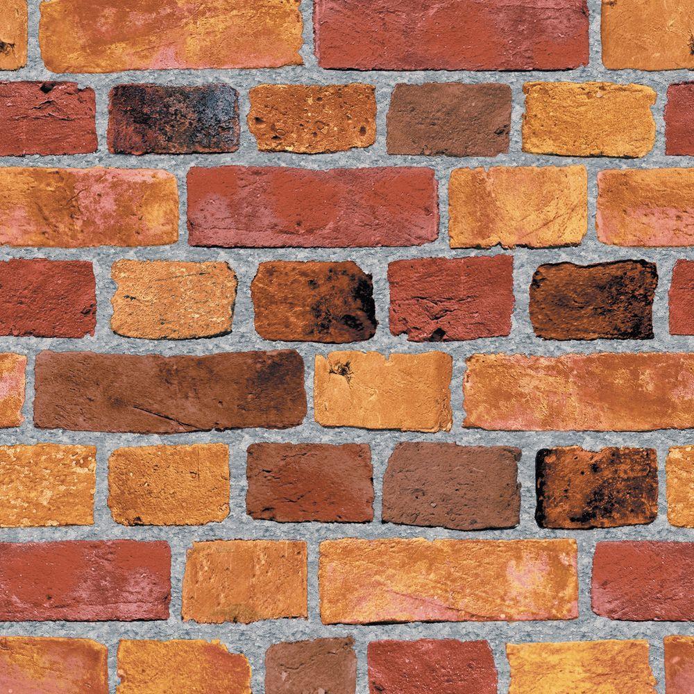 The Wallpaper Company 56 sq. ft. Red Brick Wallpaper