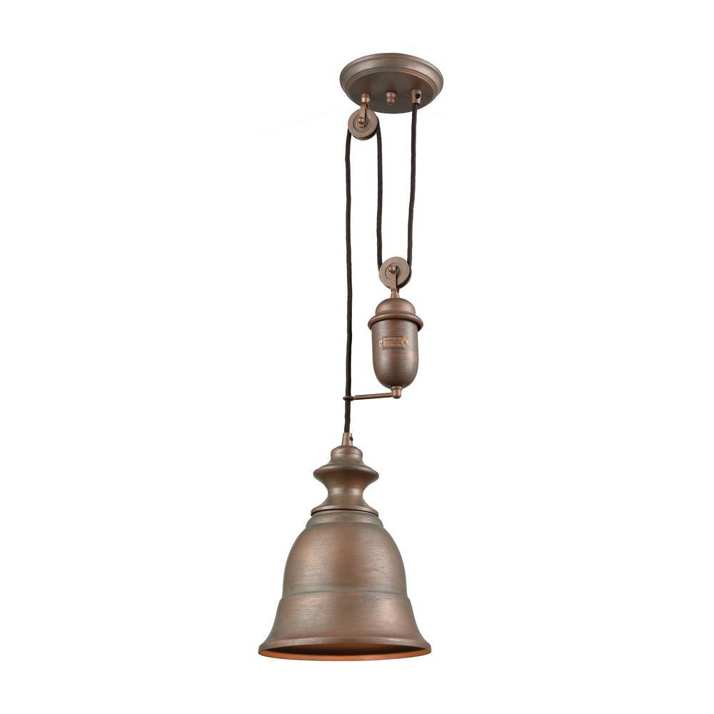 Farmhouse 1-Light Tarnished Brass Pulldown Pendant