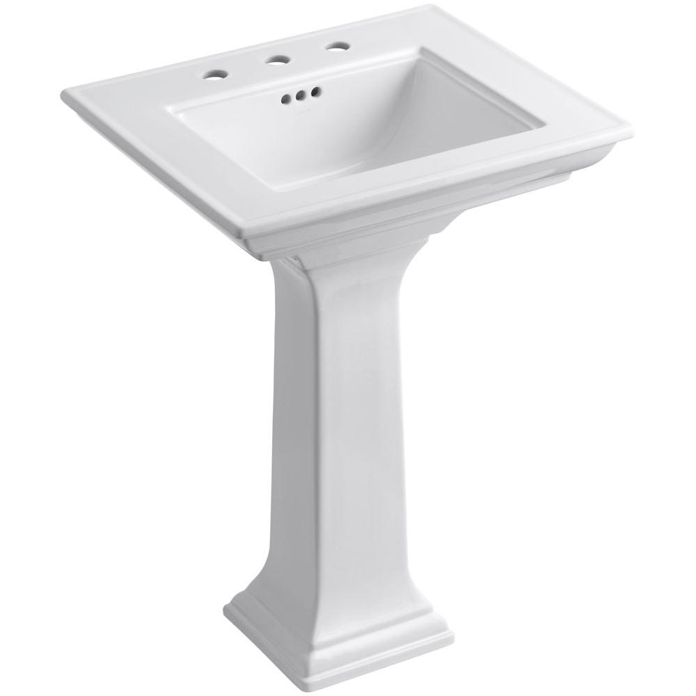 KOHLER Memoirs Stately Ceramic Pedestal Bathroom Sink Combo in White with Overflow Drain