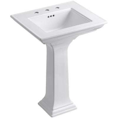 Memoirs Stately Ceramic Pedestal Bathroom Sink Combo in White with Overflow Drain