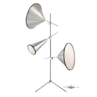 Manera Collection 72.75 in. 3-Light Aluminum Floor Lamp