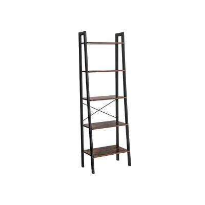 67.7 in. Brown/Black Wood 5-shelf Ladder Bookcase with Open Back
