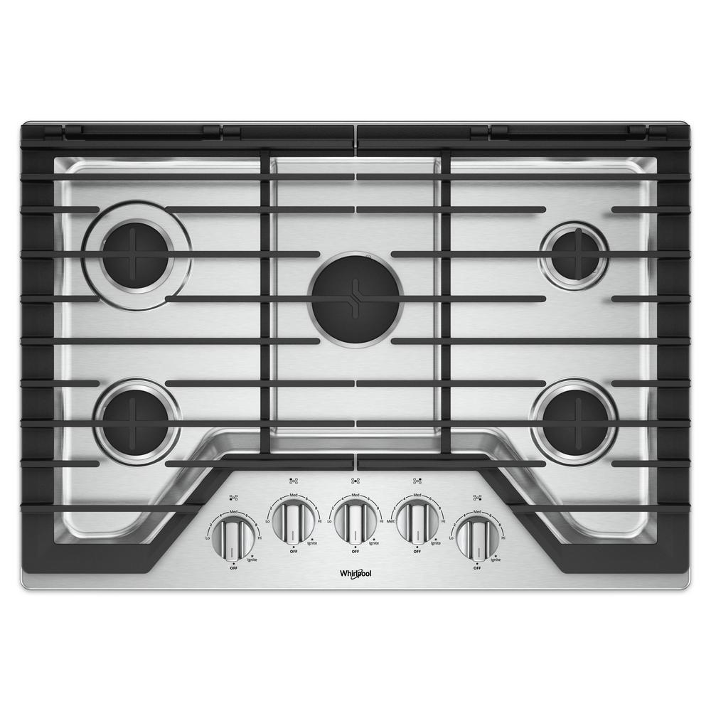 Whirlpool 30 in. Gas Cooktop in Stainless Steel (Silver) ...