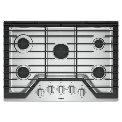 30 in. Gas Cooktop in Stainless Steel with 5 Burners and EZ-2-LIFT Hinged Cast-Iron Grates