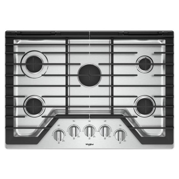 Whirlpool 30 in. Gas Cooktop in Stainless Steel with 5 Burners and EZ-2-LIFT Hinged Cast-Iron Grates
