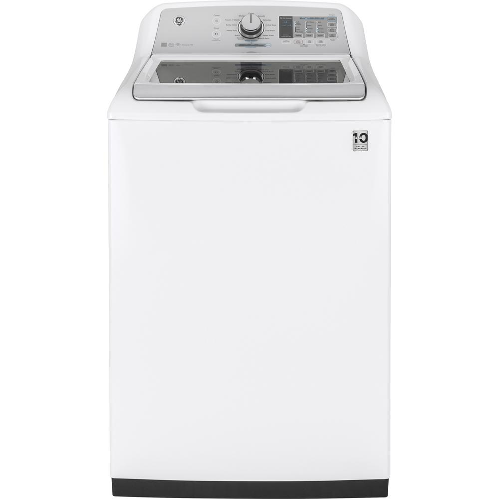 GE 4 9 cu  ft  High-Efficiency White Top Load Washing Machine with  SmartDispense and Wifi Connected, ENERGY STAR