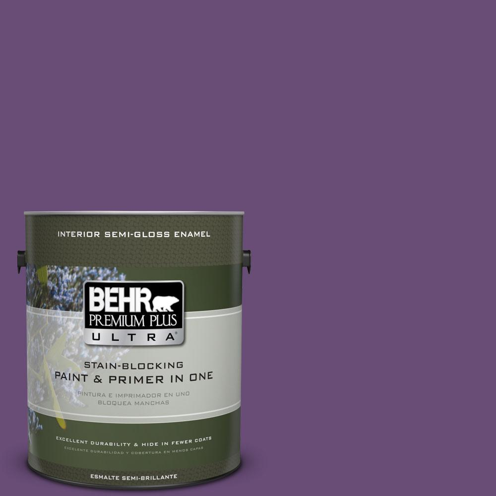 BEHR Premium Plus Ultra 1-gal. #660B-7 Exotic Purple Semi-Gloss Enamel Interior Paint