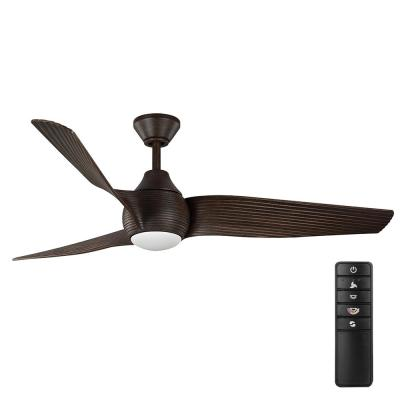 Kayden DC 60 in. Integrated LED White Color Changing Indoor/Outdoor Dark Oak Ceiling Fan with Light and Remote Control