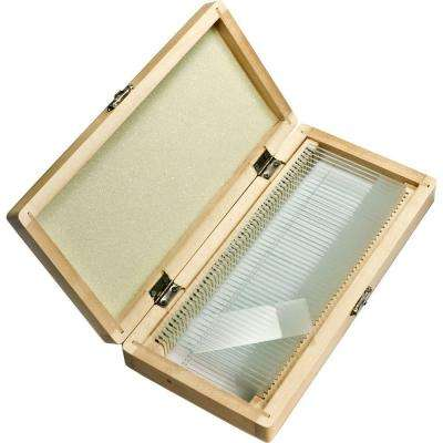 50-Pieces Prepared Microscope Slides with Wood Case