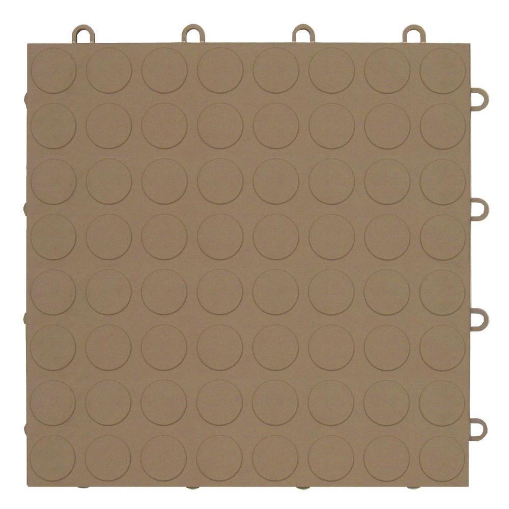MotorMat Coin Beige 12 in. x 12 in. Garage Tile - 40 Count Case