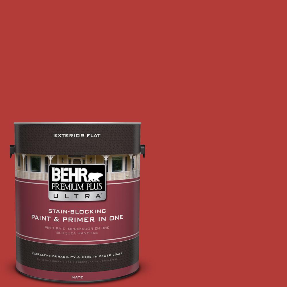 Behr Premium Plus Ultra 1 Gal Pmd 85 Crimson Silk Flat Exterior Paint 485301 The Home Depot