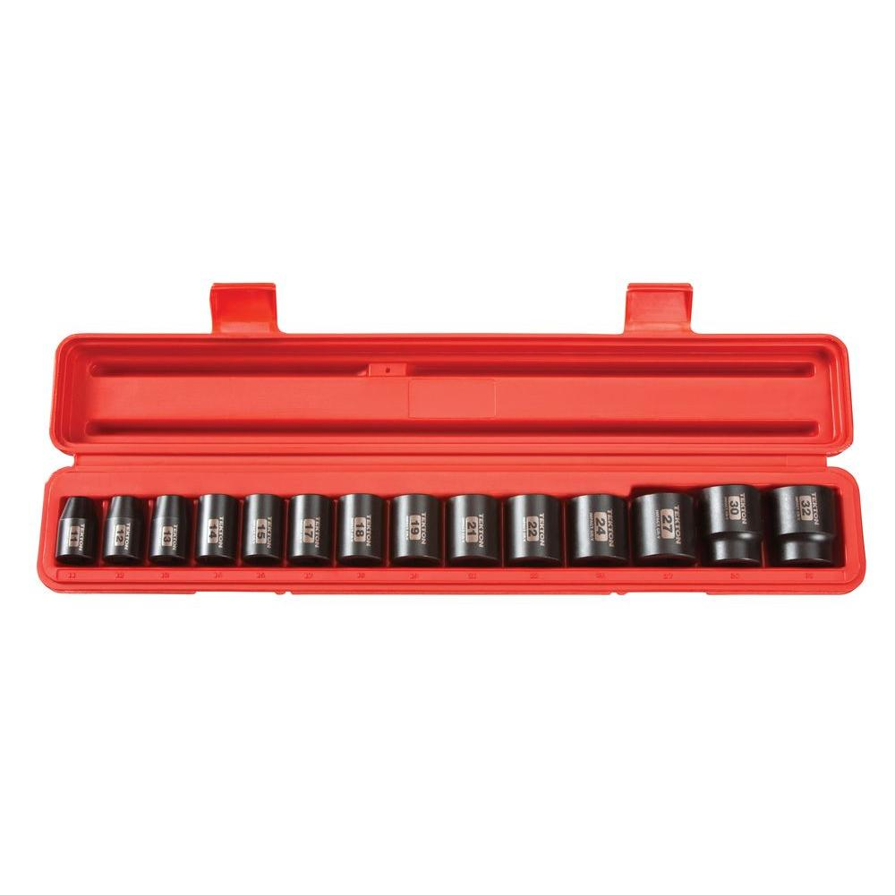 1/2 in. Drive 11-32 mm 6-Point Shallow Impact Socket Set (14-Piece)