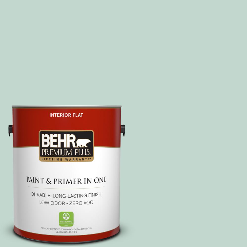 BEHR Premium Plus 1-gal. #470E-3 Aqua Smoke Zero VOC Flat Interior Paint