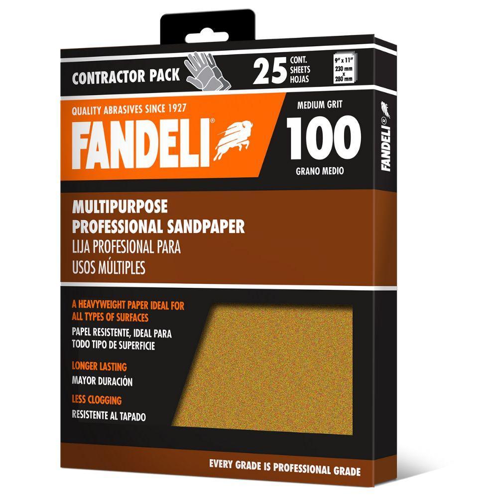 9 in. x 11 in. 100 Grit Coarse Premium Aluminum Oxide Sandpaper (25-Pack)