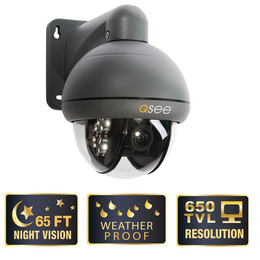Q-SEE Elite Series Wired 650 TVL PTZ Indoor/Outdoor Surveillance Camera with 3X Optical Zoom-DISCONTINUED